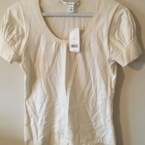 Banana Republic Cream Short Sleeve Top